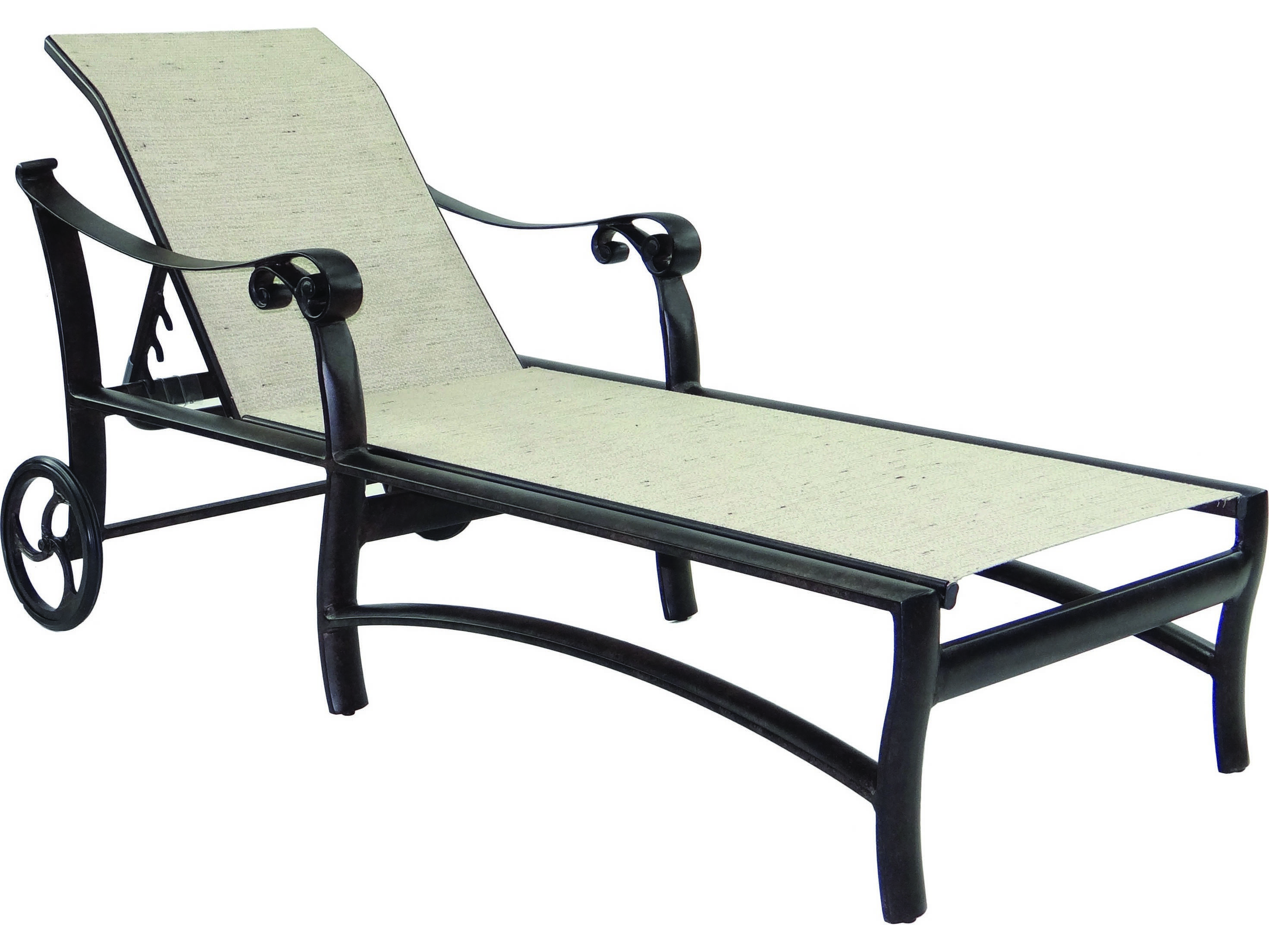 Castelle bellanova sling cast aluminum adjustable chaise for Cast aluminum chaise