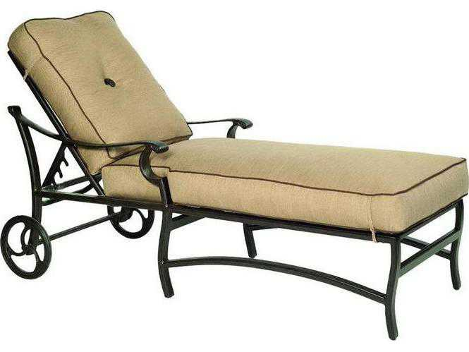 Castelle monterey cushion aluminum adjustable chaise for Aluminum chaise lounge with wheels