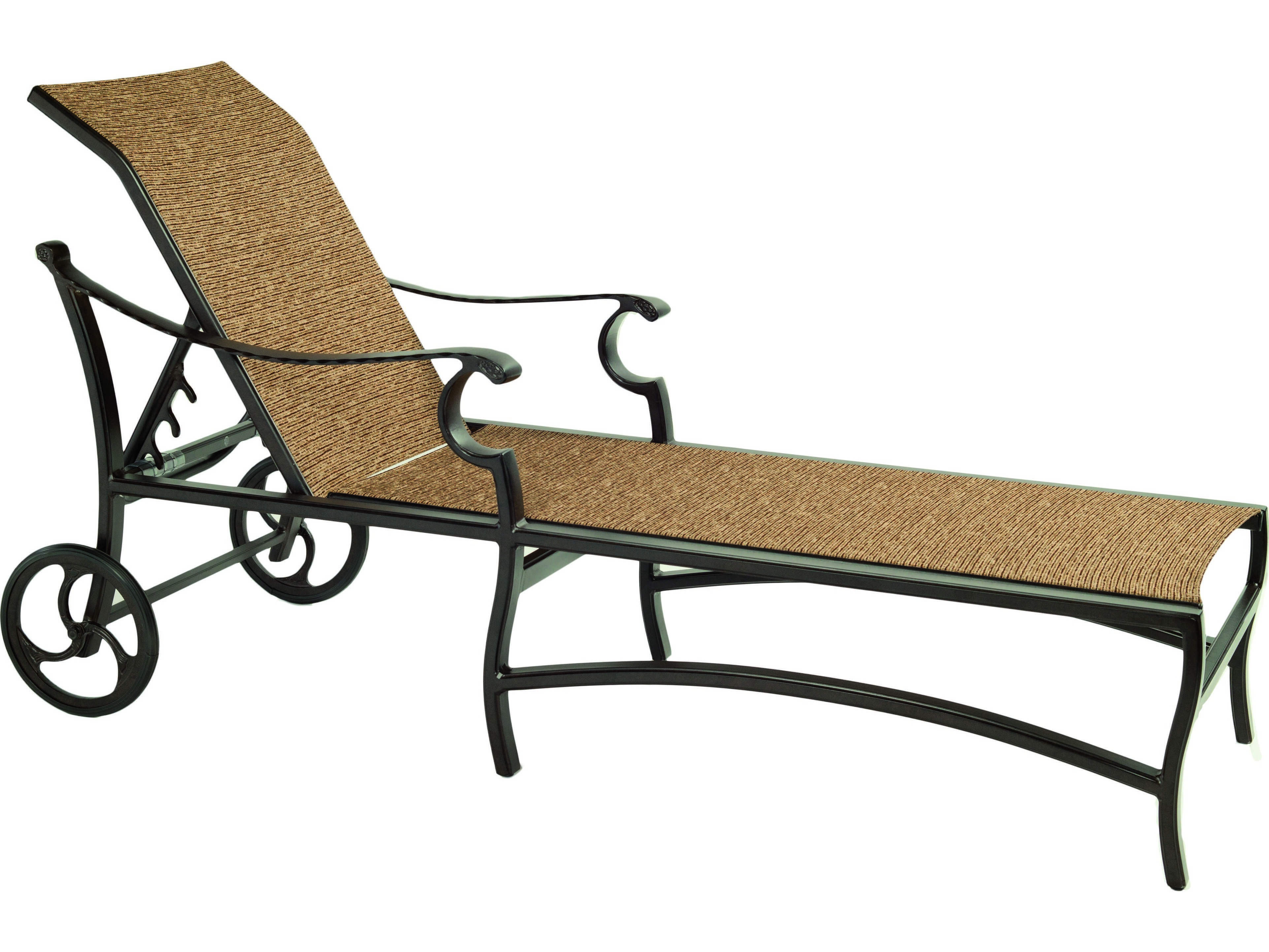 Castelle monterey sling cast aluminum adjustable chaise for Cast aluminum chaise lounge