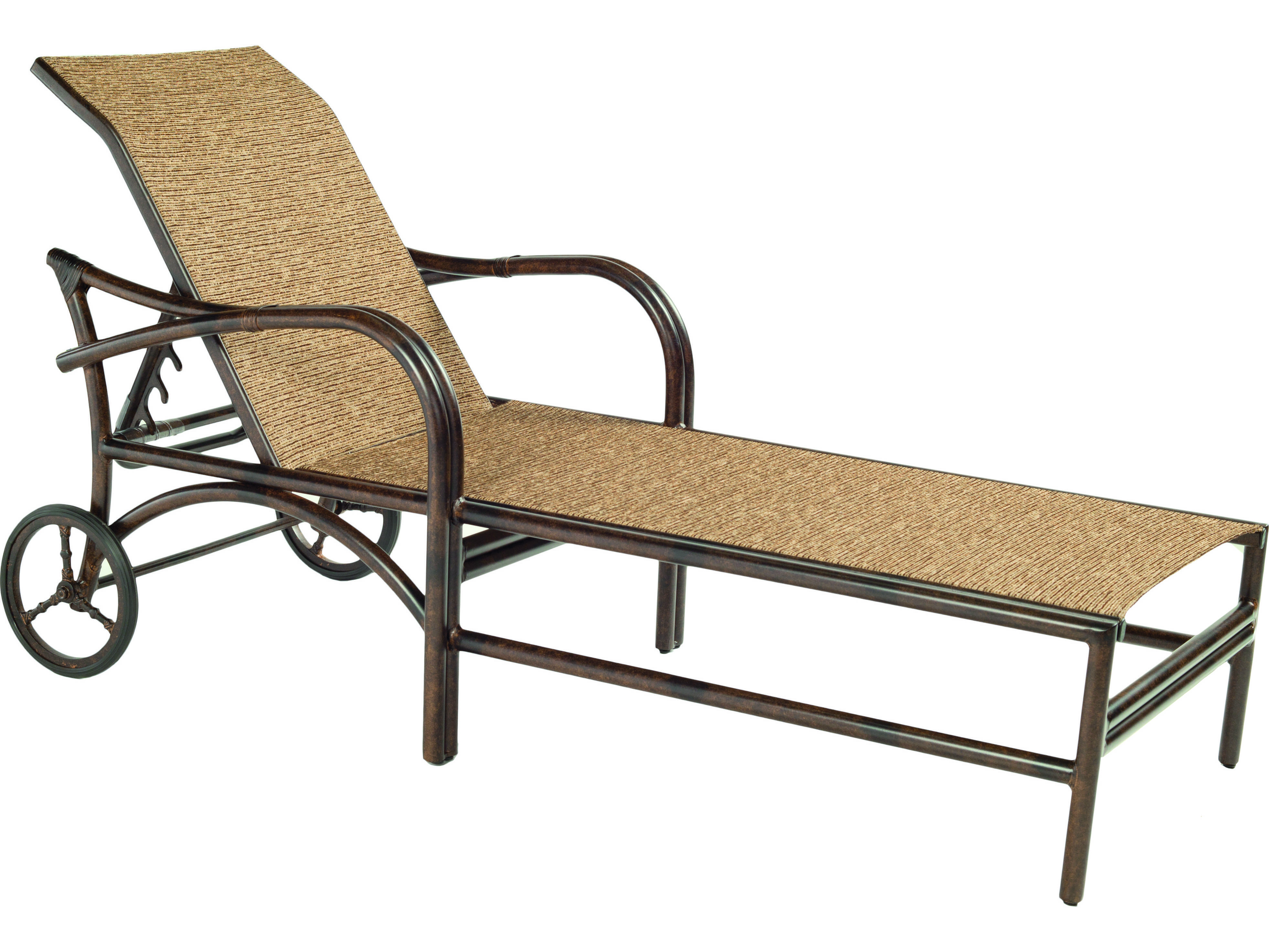Castelle sundance sling cast aluminum adjustable chaise for Cast aluminum chaise lounge