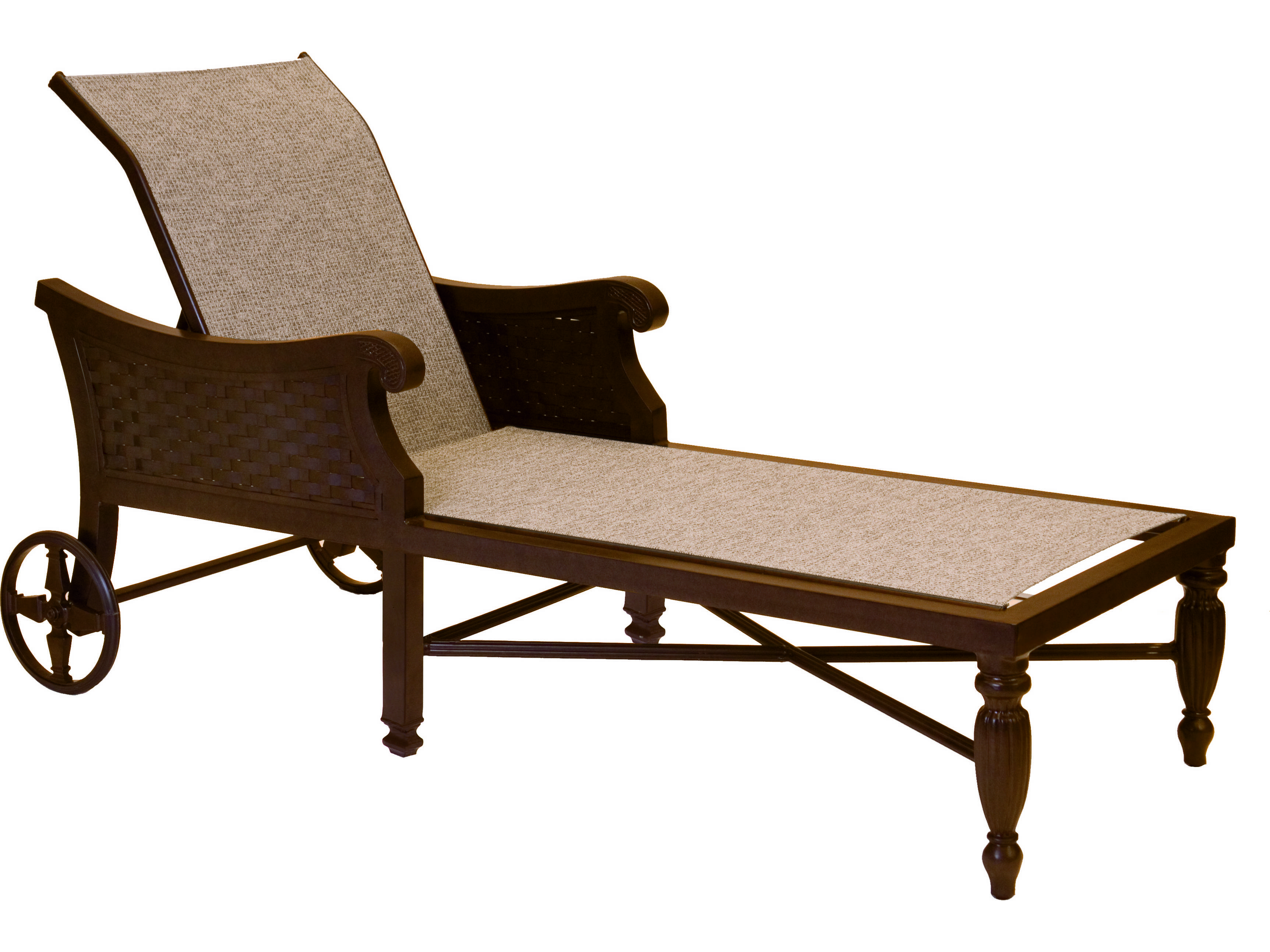 Castelle jakarta sling cast aluminum adjustable chaise for Cast aluminum chaise lounge
