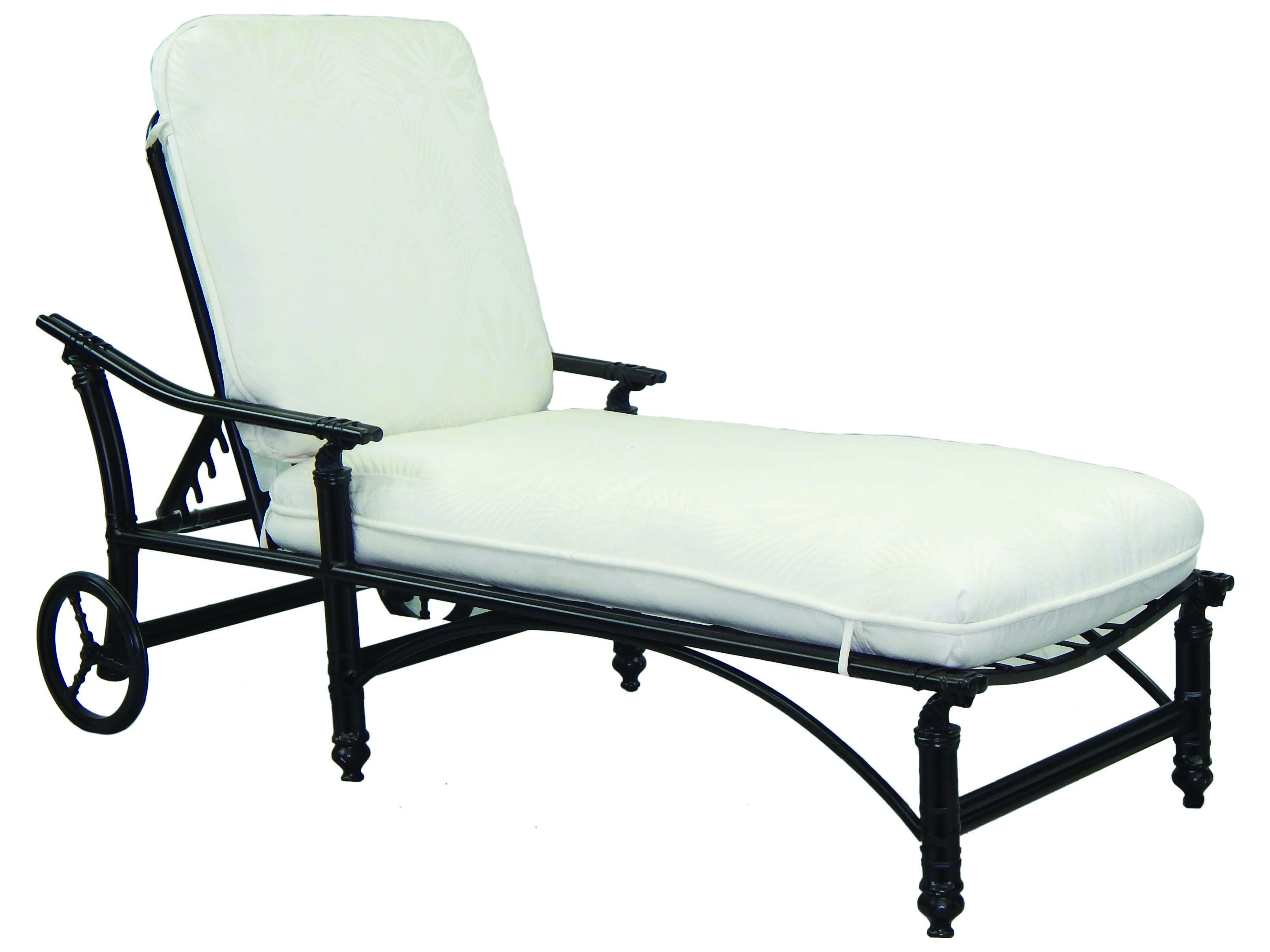 Castelle coco isle cushion cast aluminum adjustable chaise for Aluminum chaise lounge with wheels