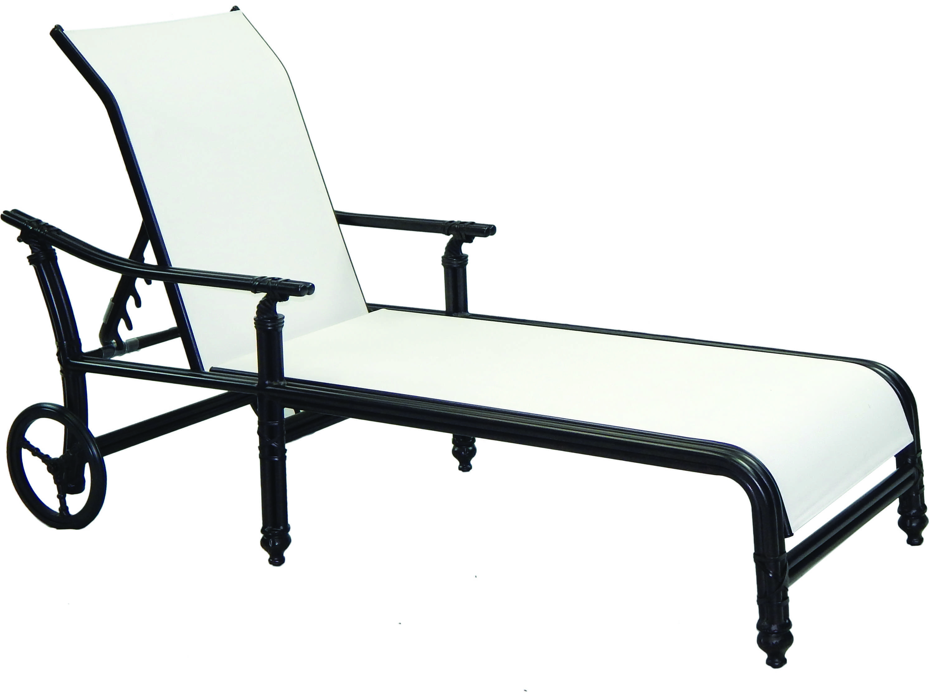 Castelle coco isle sling cast aluminum adjustable chaise for Aluminum chaise lounge with wheels
