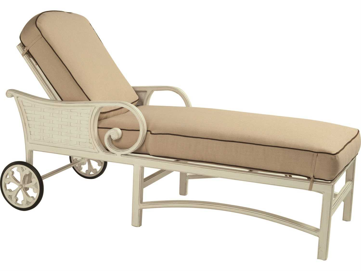 Castelle riviera cushion cast aluminum adjustable chaise for Aluminum chaise lounge with wheels