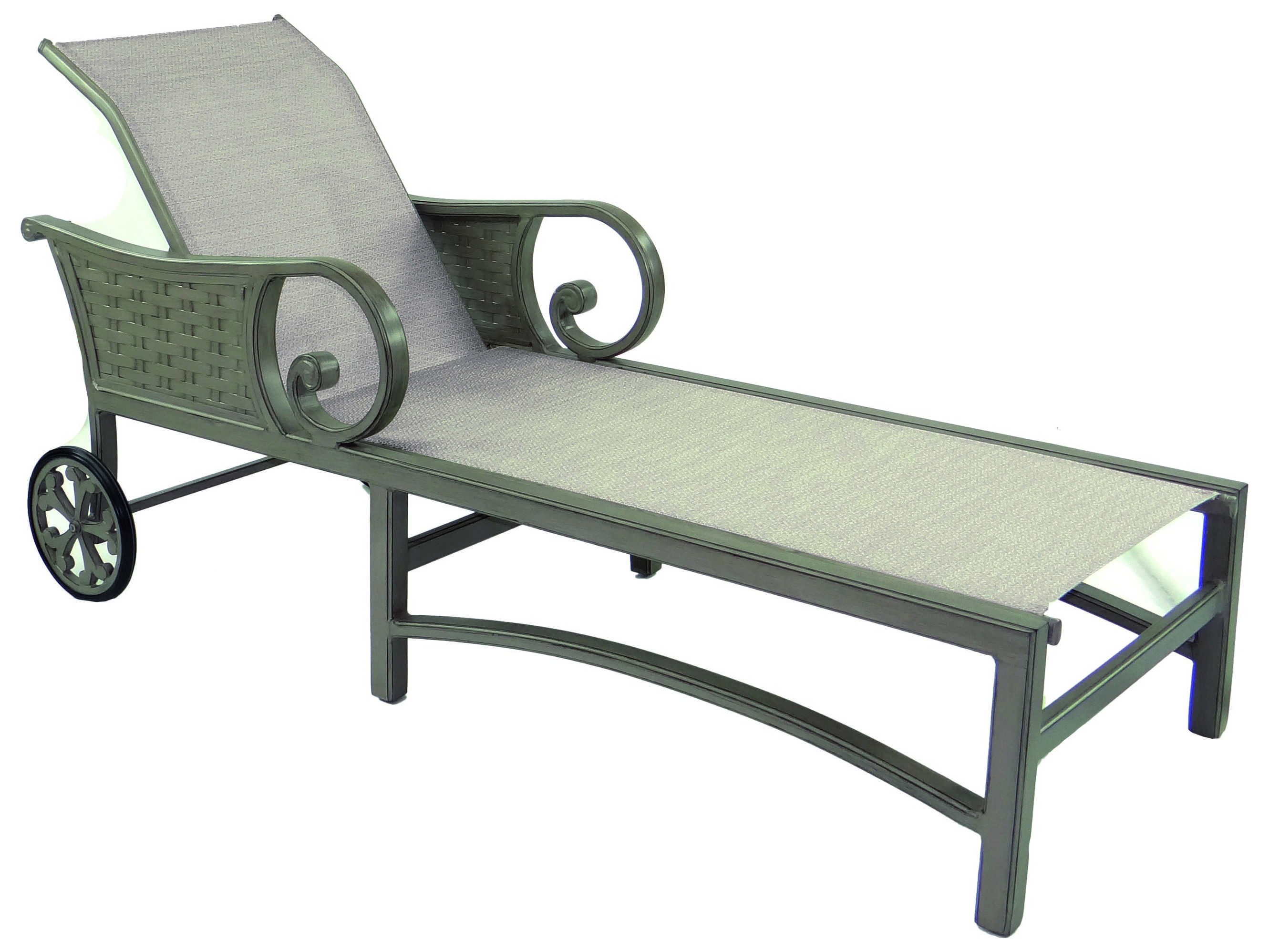 Castelle riviera sling cast aluminum adjustable chaise for Aluminum chaise lounge with wheels