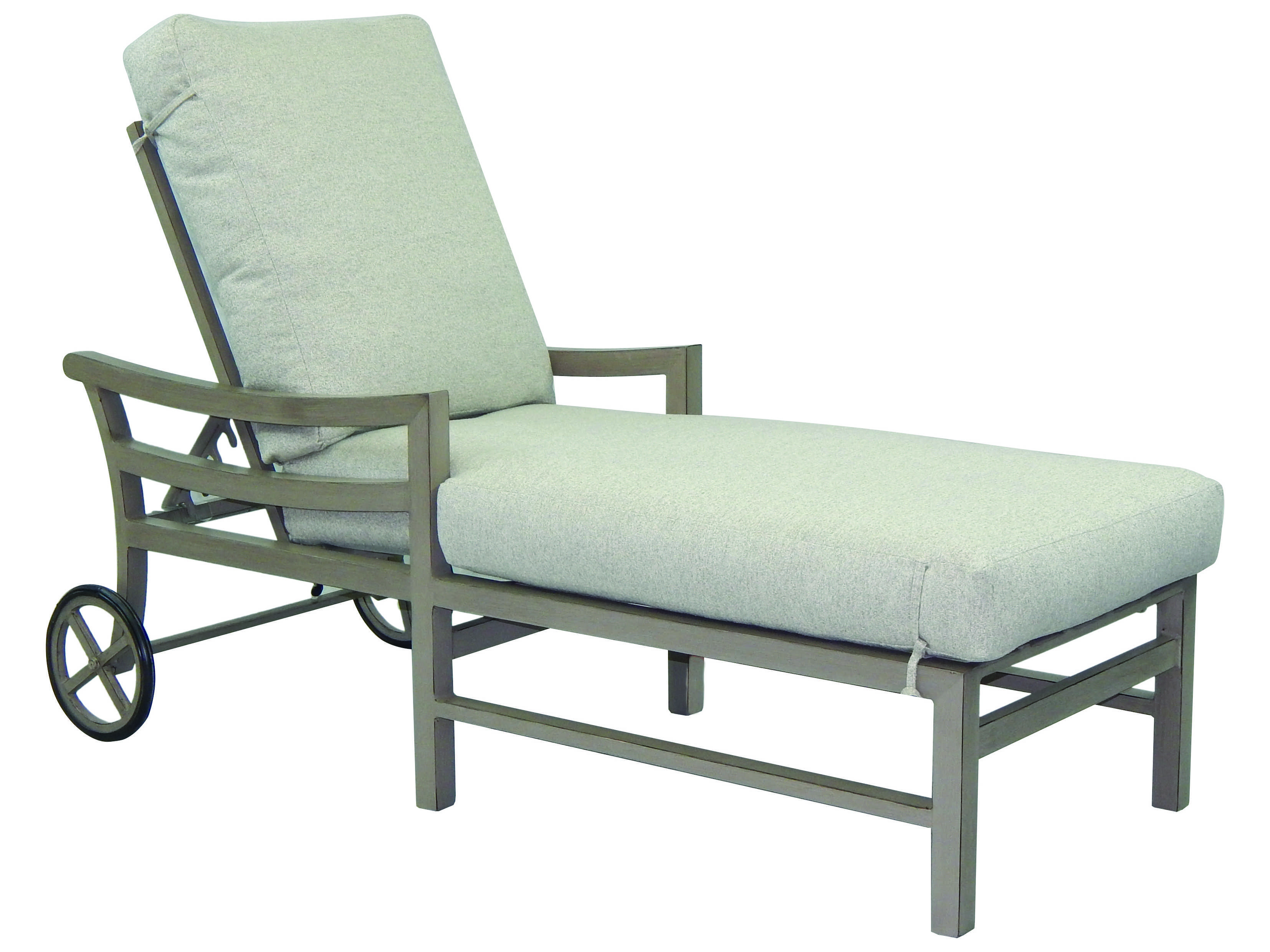 Castelle roma cushion aluminum adjustable chaise lounge for Aluminum chaise lounge with wheels