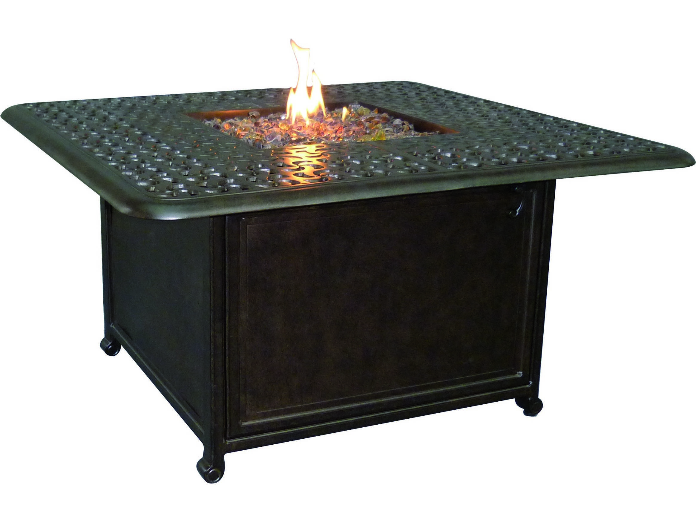 Castelle Sienna Cast Aluminum 42 Square Sienna Coffee Table With Firepit And Lid Dsf42wl