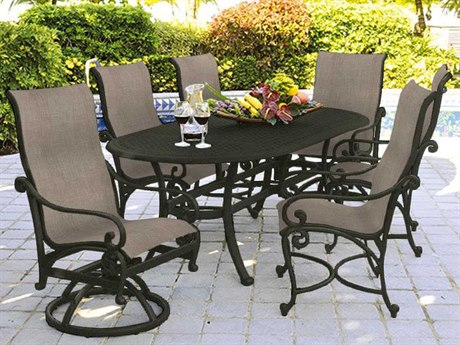 Castelle Heritage Sling Cast Aluminum 6 Person Sling Casual Patio Dining Set