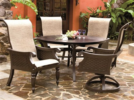 Castelle Jakarta Sling Cast Aluminum 4 Person Sling Casual Patio Dining Set