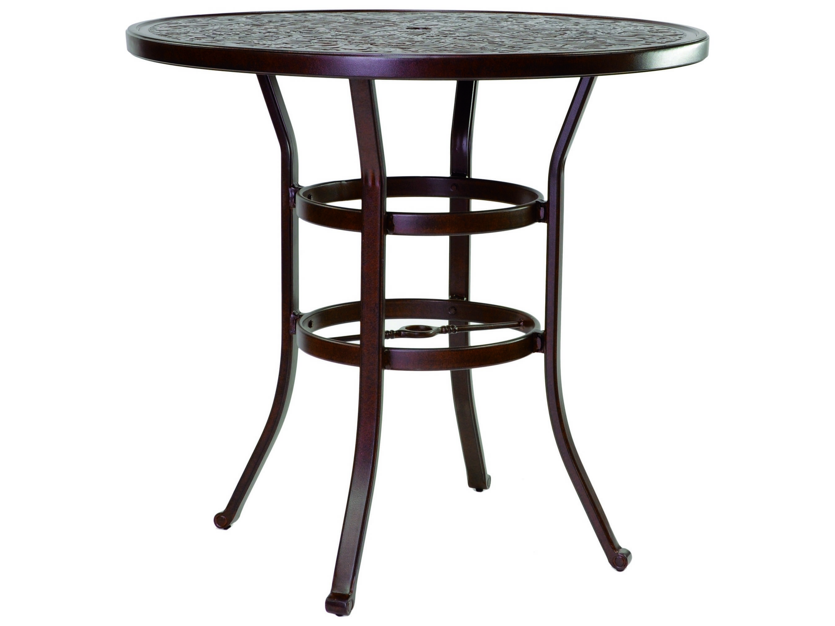castelle vintage cast aluminum 42 44 round bar height table ready to assemble nch42. Black Bedroom Furniture Sets. Home Design Ideas