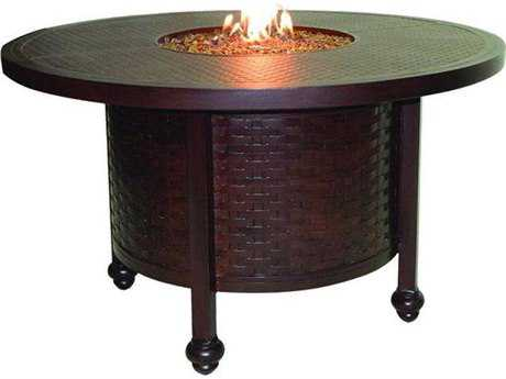 Castelle French Quarter Cast Aluminum 49 Round Firepit Dining Table with Lid