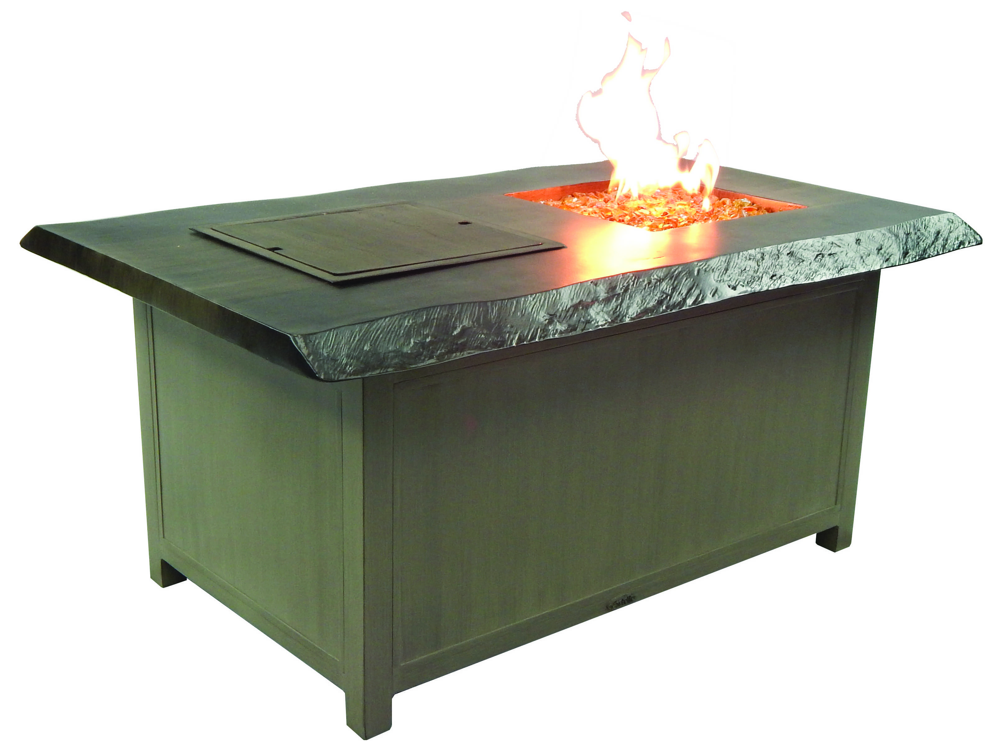 Castelle Altra Firepit Aluminum 52 X 36 Rectangular Fire And Ice Coffee Table And Lid Tri32wl