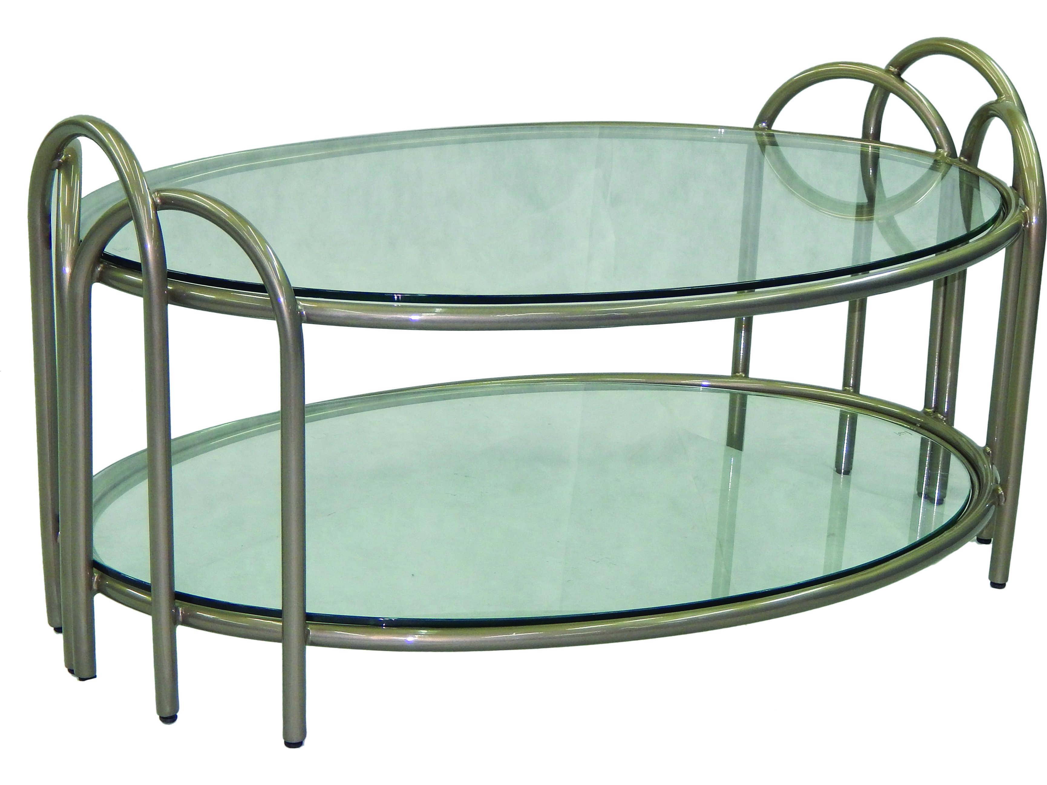 Castelle Argento Cast Aluminum 48 X 32 Elliptical Coffee Table Uec3248
