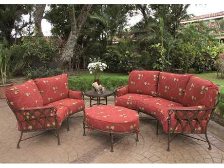 Castelle Veranda Cushion Cast Aluminum 7 Person Cushion Conversation Patio Lounge Set