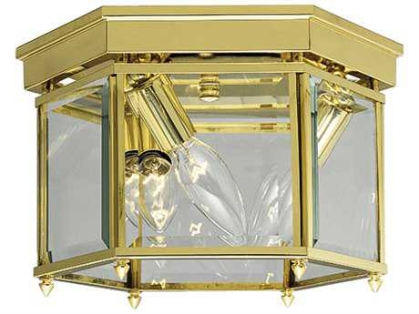 Progress Lighting Polished Brass & Clear Beveled Glass Three-Light Flush Mount Light (Sold in 2)