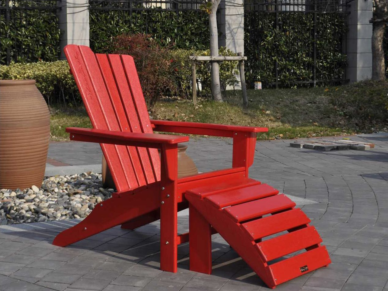 Panama Jack Adirondack Resin Two Piece Red Chair Ottoman