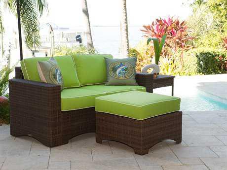 Panama Jack Key Biscayne Wicker 4 Person Cushion Conversation Patio Lounge Set