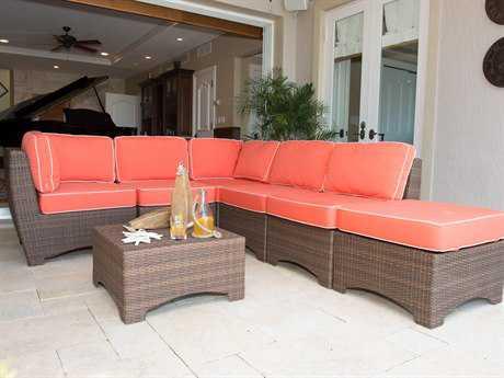 Panama Jack Key Biscayne Wicker 7 Person Cushion Sectional Patio Lounge Set
