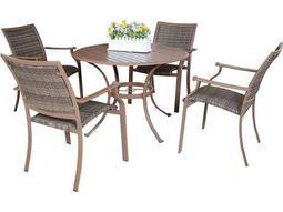 Panama Jack Island Cove Wicker Five Piece Dining Set