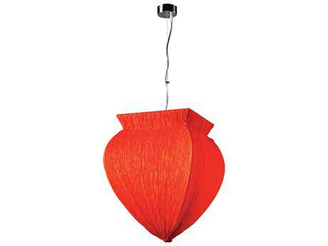 PLC Lighting Bombay Polished Chrome & Red 14'' Wide Fluorescent-GU24 Pendant (Sold in 2)