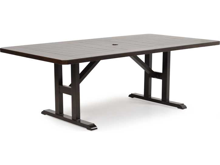 Rattan Aluminum 4300 Series 28 5 X 44 Rectangular Sequoia Dining Table