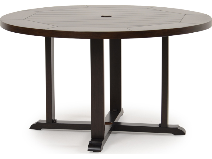 palm springs rattan aluminum 4300 series 28 5 x 50 round sequoia dining table 4350. Black Bedroom Furniture Sets. Home Design Ideas