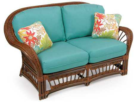 Palm Springs Rattan P4400 Series Deep Seating Loveseat w/ 2 Toss Pillows