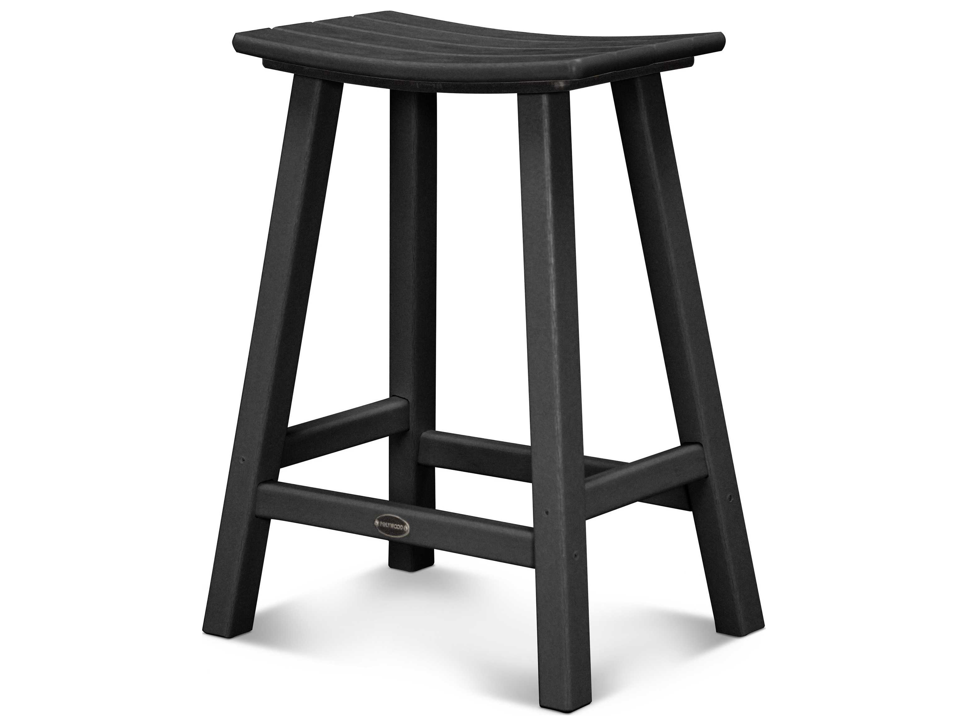 Polywood 174 Contempo Recycled Plastic 24 Saddle Bar Stool