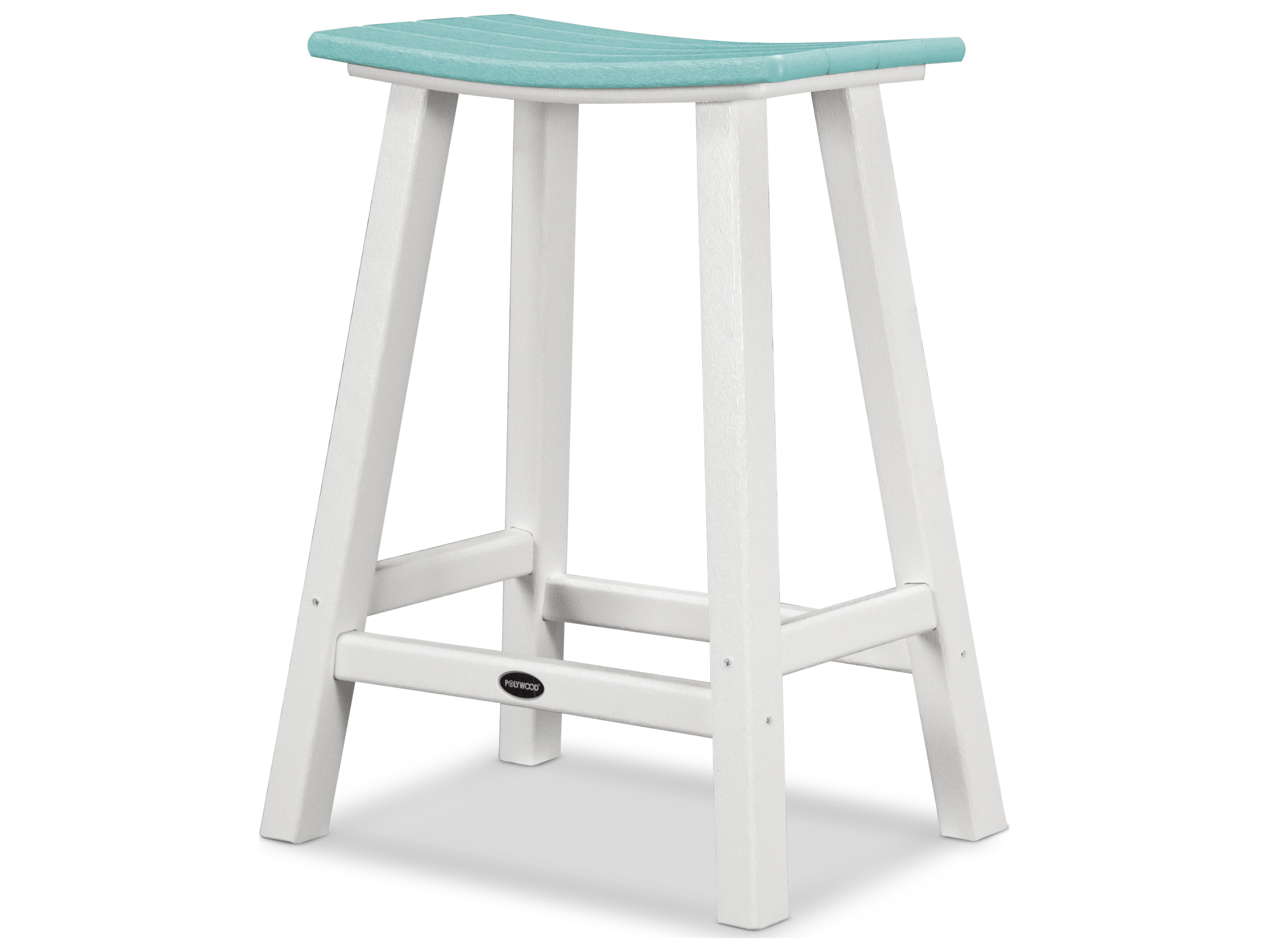 Polywood 174 Contempo Recycled Plastic Saddle 24 Bar Stool