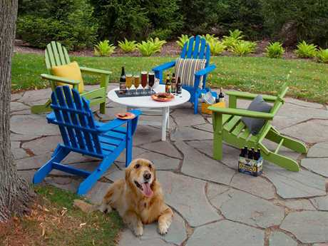 POLYWOOD Classic Adirondack Recycled Plastic 4 Person Recycled Plastic Conversation Patio Lounge Set