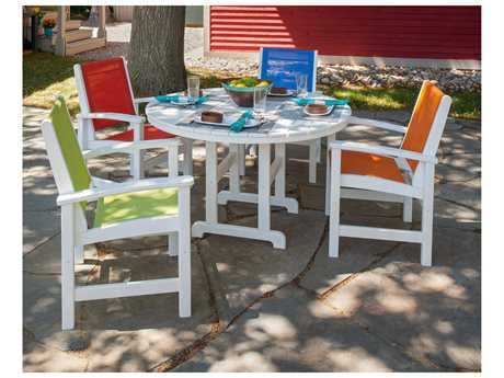 POLYWOOD Coastal Recycled Plastic 6 Person Sling Casual Patio Dining Set
