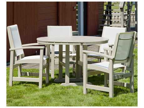 POLYWOOD Coastal Recycled Plastic 4 Person Sling Casual Patio Dining Set