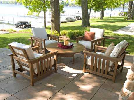 POLYWOOD Mission Recycled Plastic 4 Person Cushion Conversation Patio Lounge Set