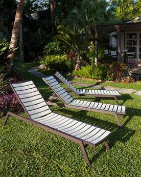 POLYWOOD Euro Aluminum 3 Person Cushion Pool Patio Lounge Set