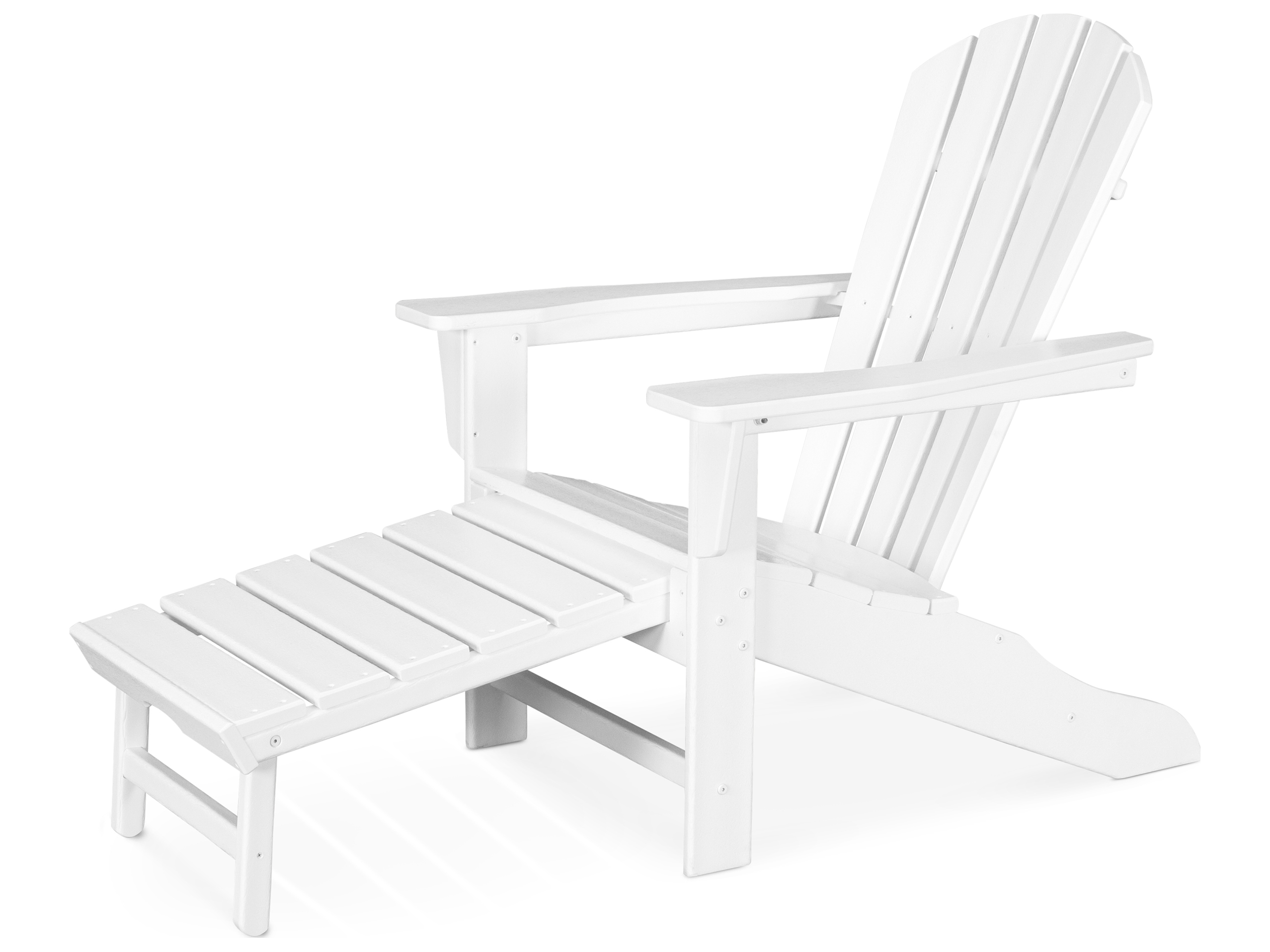 Polywood south beach recycled plastic adirondack arm chair with hideaway ottoman hna15 - Plastic adirondack footrest ...