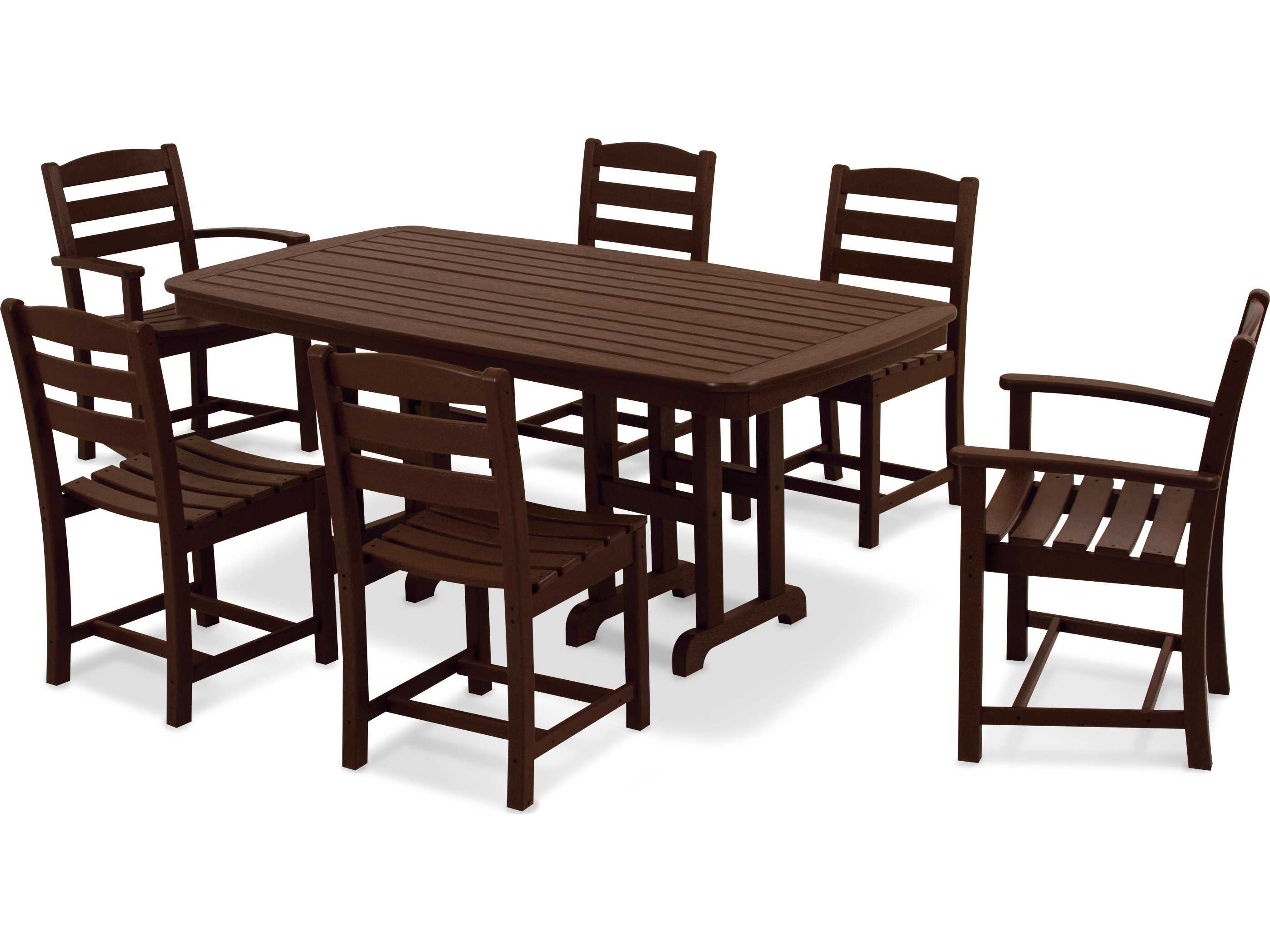 POLYWOOD La Casa Cafe Casual Patio Dining Set Six Chairs One Table PWS131 1