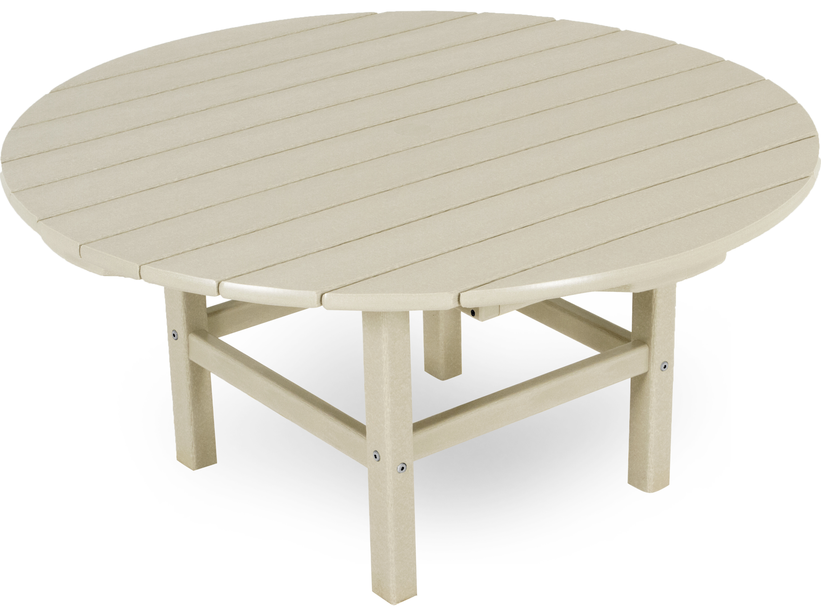 Polywood traditional recycled plastic 38 round for Pvc patio table