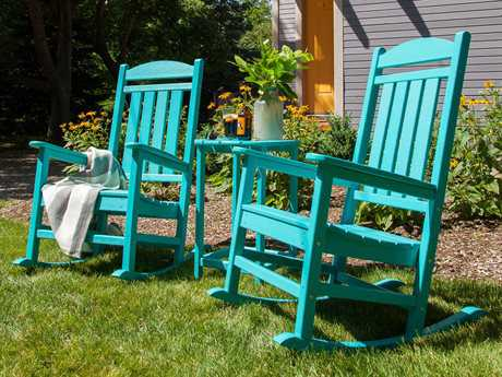 POLYWOOD Rocker Recycled Plastic 2 Person Recycled Plastic Conversation Patio Lounge Set