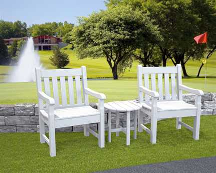 POLYWOOD Rockford Recycled Plastic 2 Person Recycled Plastic Conversation Patio Lounge Set
