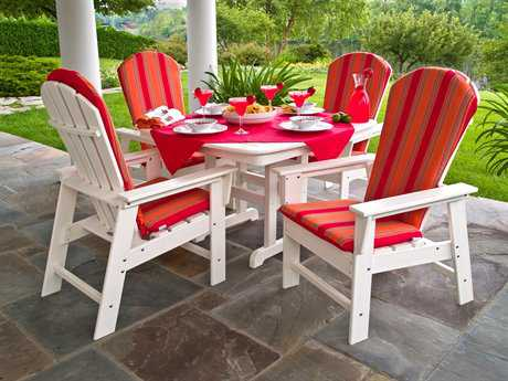 POLYWOOD South Beach Recycled Plastic 4 Person Cushion Casual Patio Dining Set