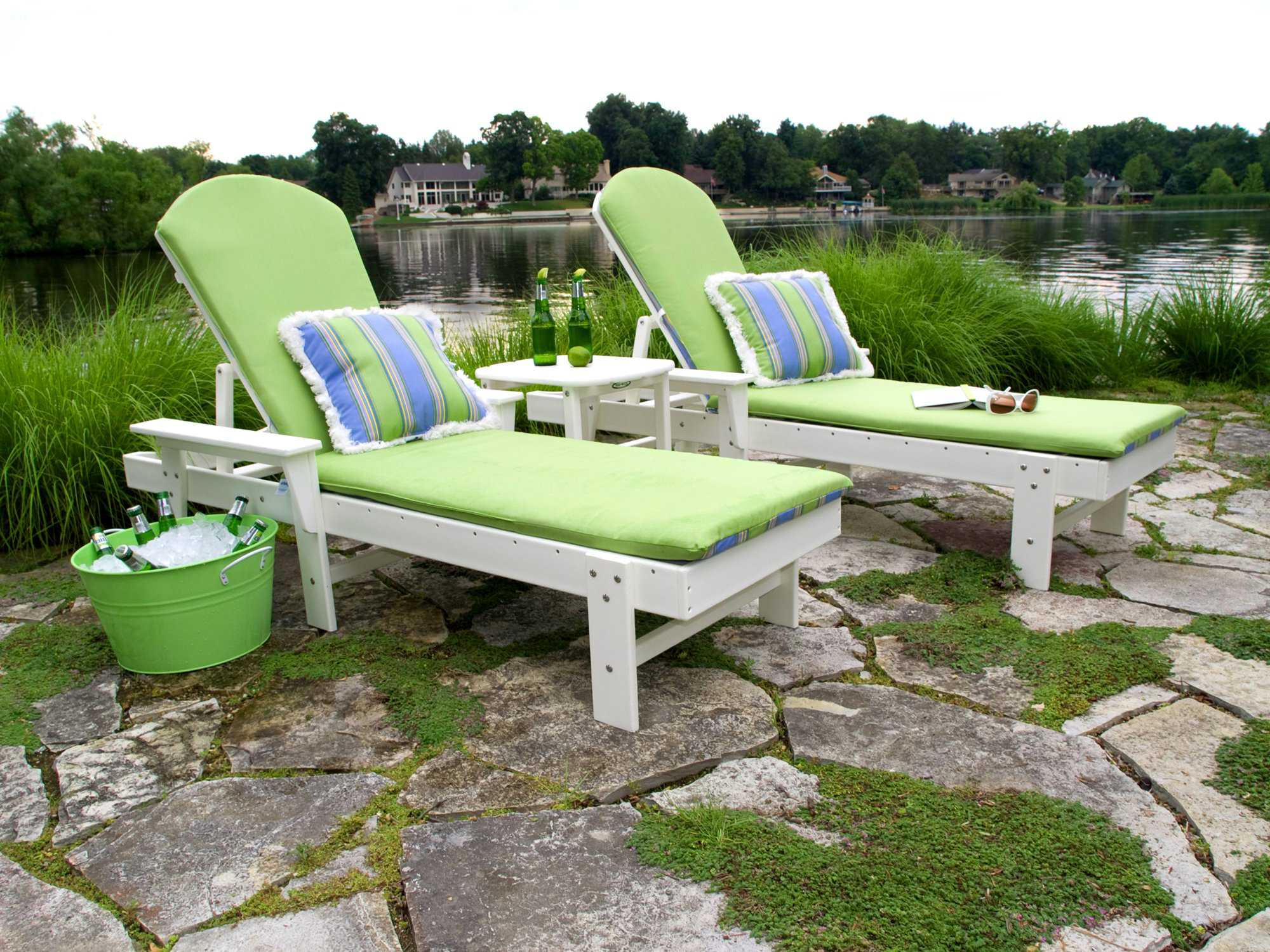Polywood south beach chaise lounge set southls for Beach lounge chaise