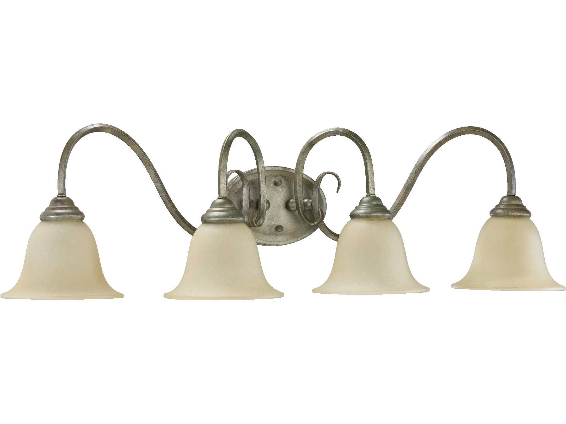 Quorum Vanity Lights : Quorum International Spencer Mystic Silver Four-Lights Vanity Light 5110-4-58