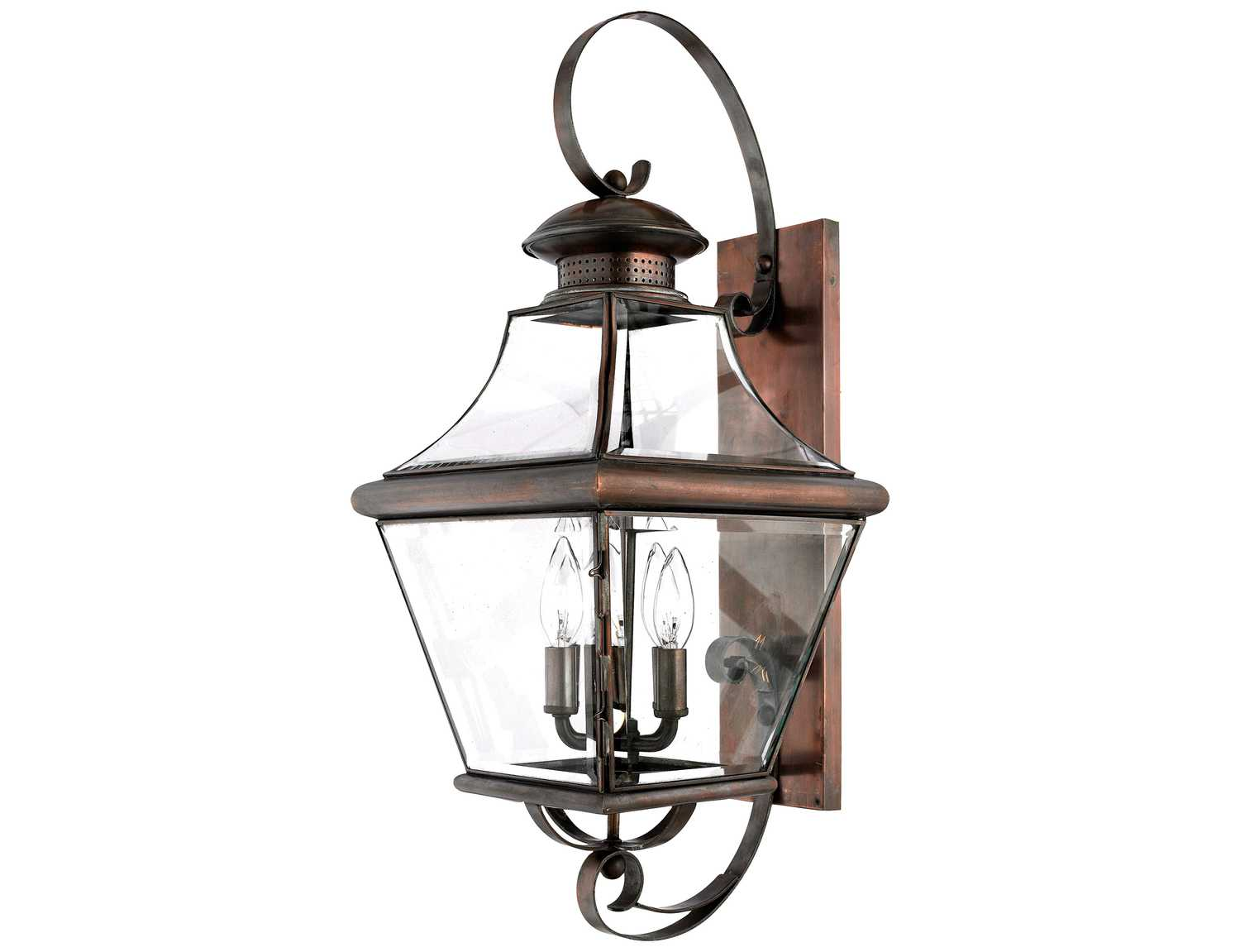 quoizel carleton patinaed solid copper four light outdoor wall light