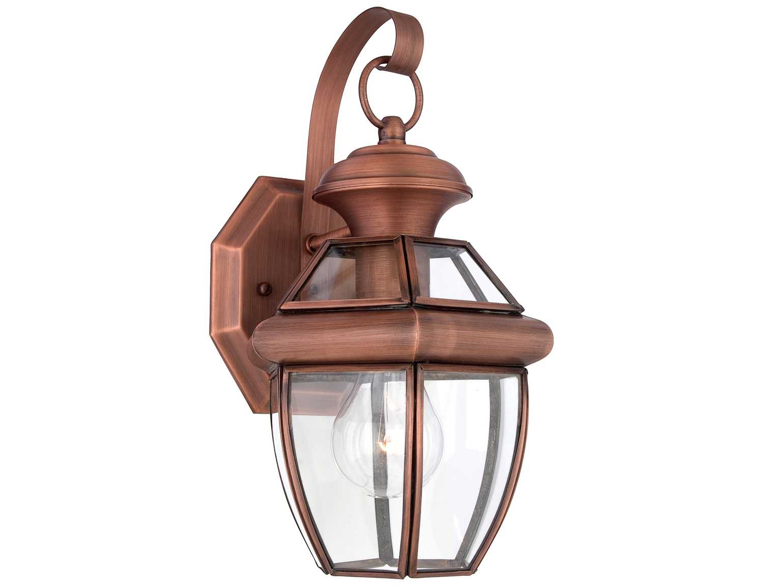 quoizel newbury patinaed solid copper outdoor wall light ny8315acfl