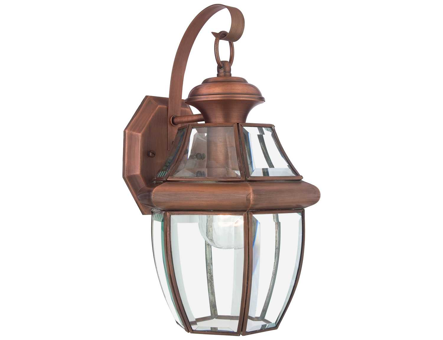 quoizel newbury patinaed solid copper outdoor wall light ny8316acfl