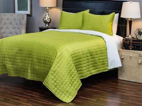 Rizzy Home Satinology Green Quilt Set King - QLTBT1676GR001692