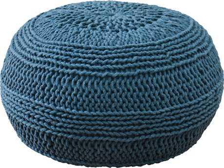 Rizzy Home Blue Pouf
