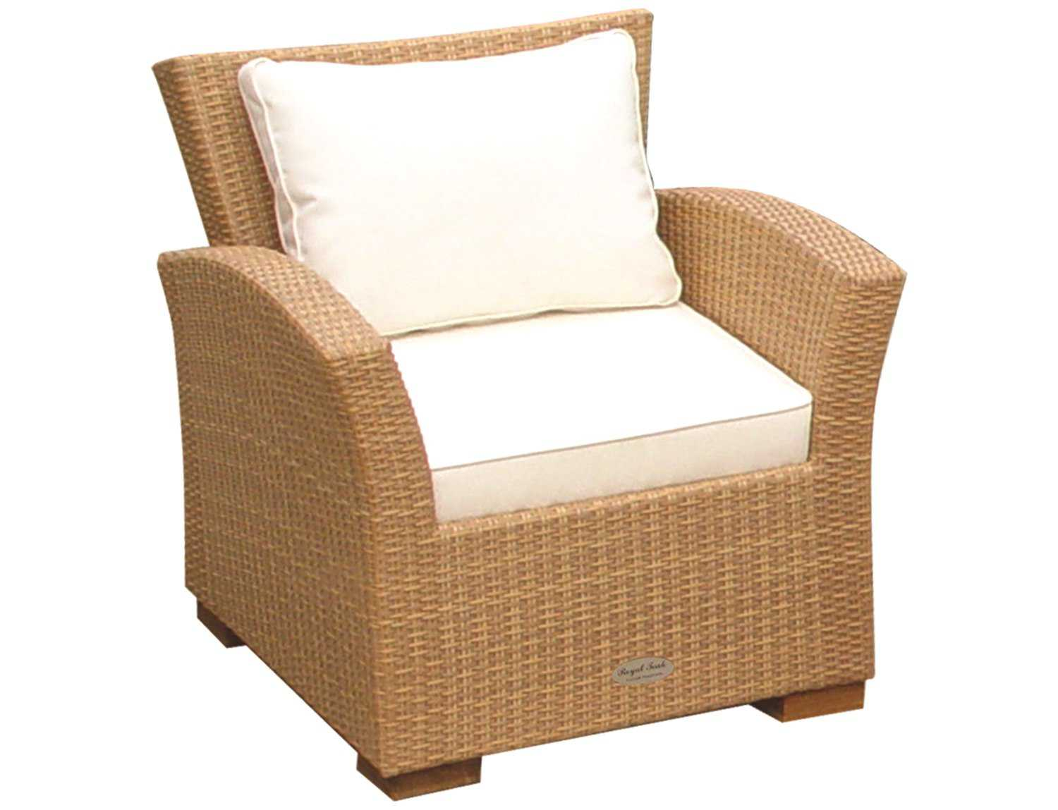 Royal Teak Charleston Wicker Cushion Honey Lounge Chair CHA1H