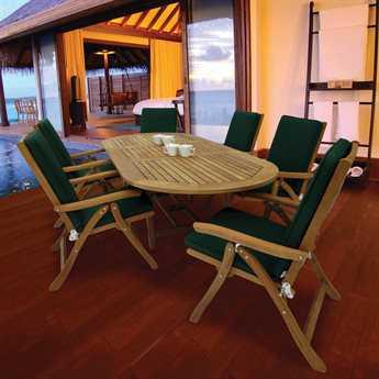 Royal Teak Estate Teak 6 Person Cushion Casual Patio Dining Set