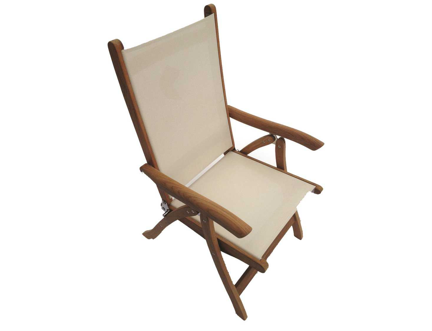 Royal Teak Collection Florida White Sling Adjustable Folding Dining Arm Chair